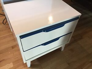 White & navy single Bedside table