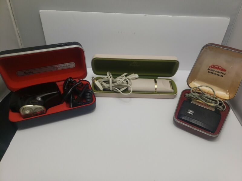Lot Of 3 Vintage Electric Shaver Norelco Tripleheader Norelco Lady Sunbeam razor