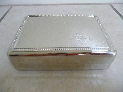 (New Elegant Silver Tone Polished Square Jewelry or Trinket Box Great Gift)