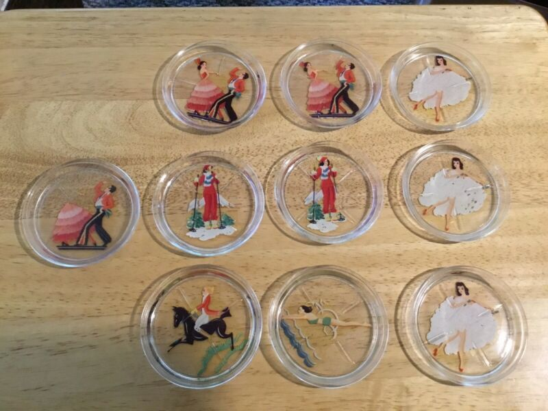 10 MCM GLASS COASTERS REVERSE DECAL DANCERS SKIER EQUESTRIAN SWIMMING 1950's