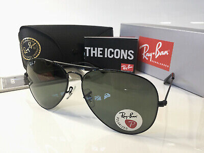 Ray-Ban RB3025 002/58 Polarized Aviator Classic Black Sunglasses (Ray Ban Aviator 58mm Polarized)