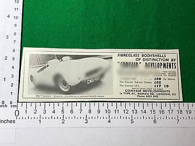Convair Developments Roman Road London fibreglass bodyshell Ford advert 1957