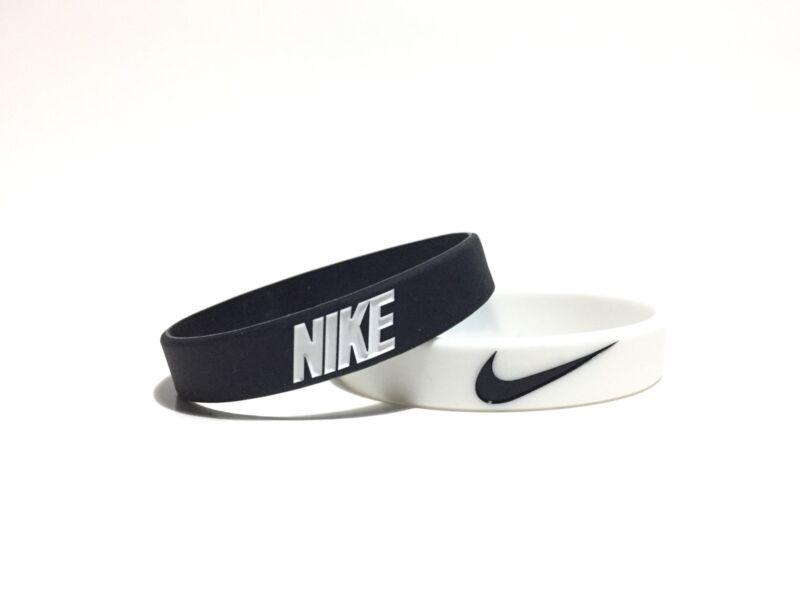 Nike Black White Bracelet 2-PACK Wristbands Baller ID Sport Basketball Silicon