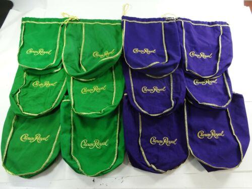 "Mixed Lot of 12 Crown Royal 750ml Drawstring Bags 6 Green & 6 Purple 9"""