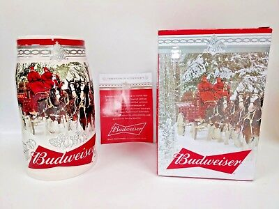 2017 Budweiser  Holiday Stein Free Shipping New In Box Coa