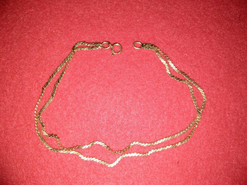 """14K Gold Ankle Bracelet ~ Double Herringbone Chain ~ 8.5"""" Anklet ~ 3.0g ~ Nice!"""