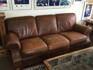 Moran Brown leather lounges, 2 & 3 seater Mosman Mosman Area Preview