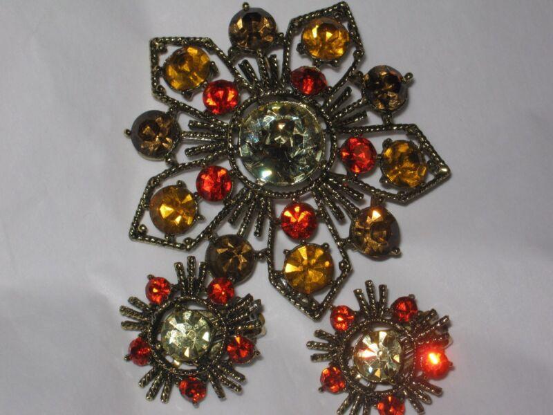 Vintage WEISS Jewelry ORANGE TOPAZ AMBER  RHINESTONES,BROOCH PIN EARRINGS SET