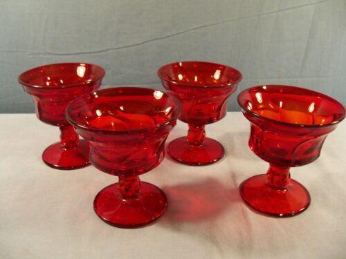 Set of 4 Fostoria JAMESTOWN Ruby Red Glass Sherbets