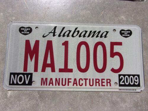 Alabama  2009 Manufacturer license plate  #  1005