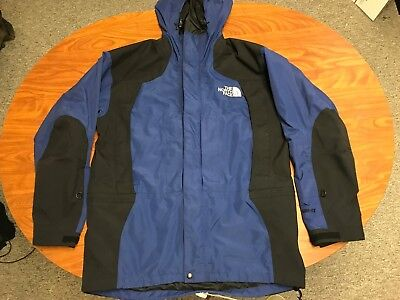 MENS VINTAGE THE NORTH FACE BLUE GORE TEX MOUNTAIN GUIDE HOODED JACKET MEDIUM