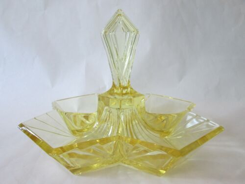 DIVIDED RELISH! Vintage INDIANA GLASS depression YELLOW PYRAMID pattern: LOVELY