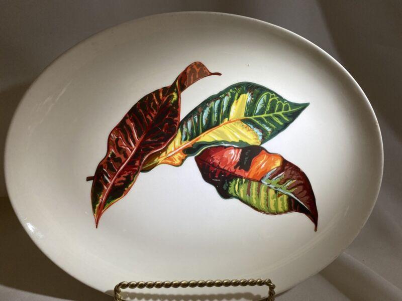 "Santa Anita Ware Croton Leaves Iranda Large Oval Platter 13""x10.5"" Used"