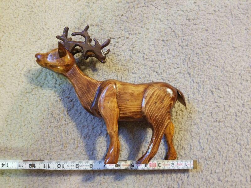Set of Nine (9) Handmade Wooden Reindeer Christmas decorations
