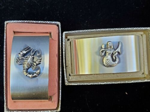 """Vintage BSF Oval Nautical Napkin Rings Metal 2.25"""" tall X 1.25"""" height W Germany"""