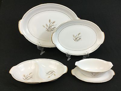 Sango Harvest Gold TWO Oval Platters, Divided Dish, Gravy Boat
