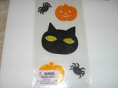 New ! Happy Halloween Window Gel Stickers Cling Decor Pumkins Cat Spiders