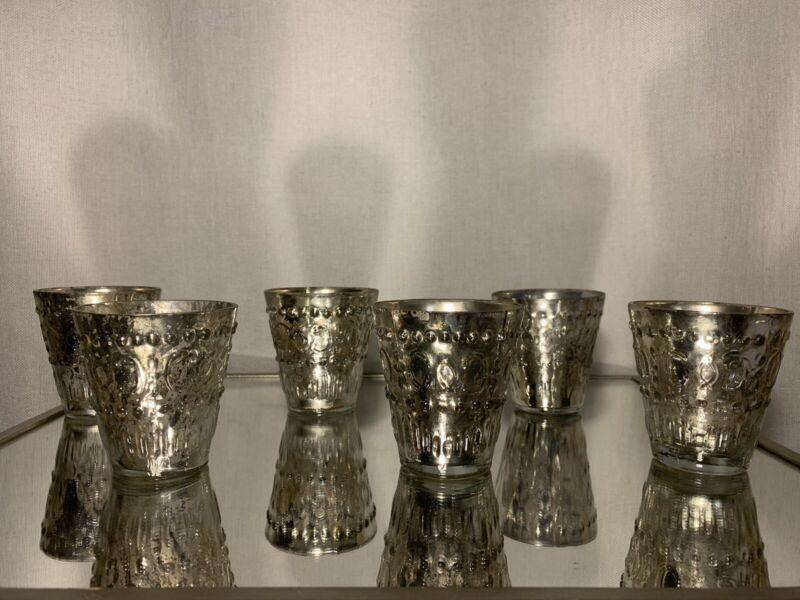 "Mercury Glass 3.5"" Wedding | Holiday Votives Antique Silver Candle Holders Set 6"