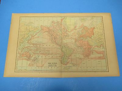 "1893 Popular Atlas Map 2 Page, The World,Nice Color,Suitable Frame 13 1/2"" X 22"""