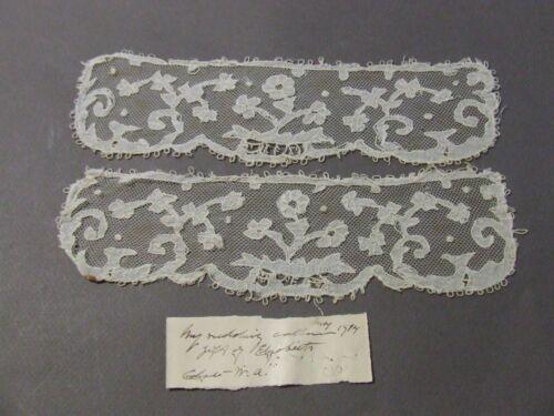 VICTORIAN ANTIQUE BOBBIN POINT DE GAZE LACE 1915 WEDDING COLLAR W/ HISTORY