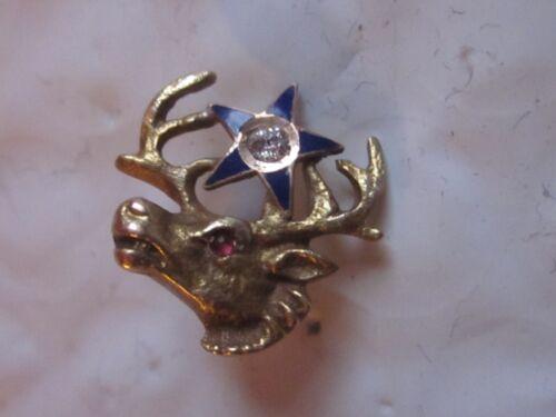 Old 10k Solid Gold Elks Lodge BPOE Fraternal Screw Back Pin w/2mm Diamond