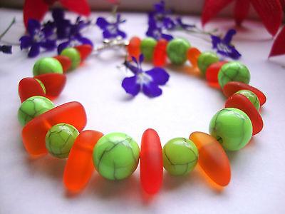 Halloween Bracelet Orange Green Sea Glass Acrylic Bracelet Pumpkin October Fall