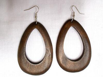 ELEMENTAL DARK BROWN STAINED WOOD DANGLING DROPLET TEAR DROP SHAPE HOOP EARRINGS](Pearl Earrings Droplets)