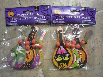 Party Pieces Halloween (New ! 2 X 6 pieces Halloween Paddle Balls Party Christmas Birthday)