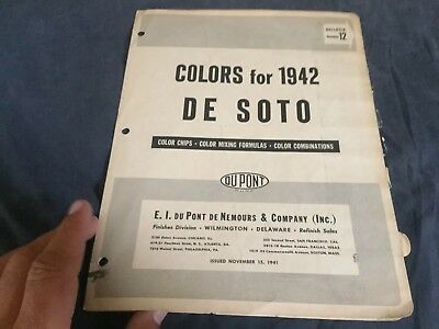 1942 De Soto Color Paint Chips Original Brochure Prospekt