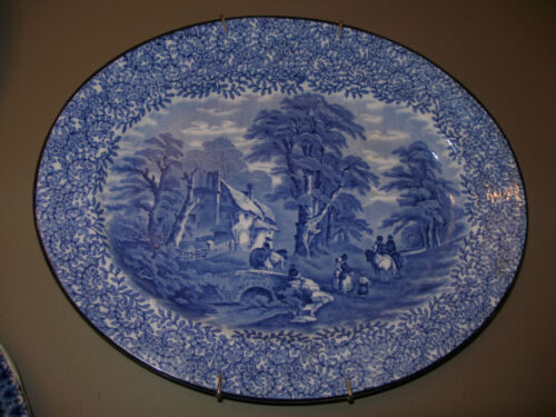 """ANTIQUE BLUE AND WHITE PLATTER, 14 X 11-1/2""""."""
