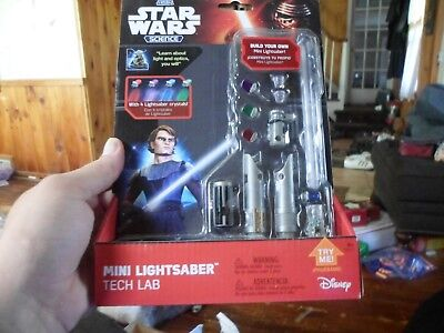 Star Wars Mini Lightsaber TECH LAB w/4 COLOR CRYSTALS - NEW