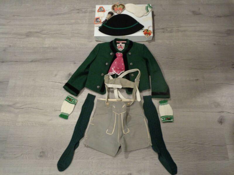 Vintage Original Lanz Salzburg German Bavarian Boys Suede Lederhosen Full Outfit