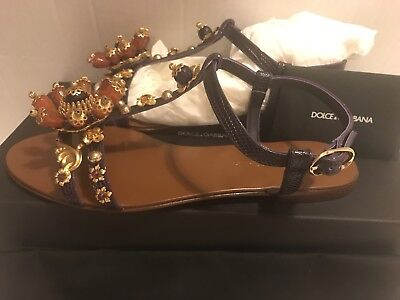 Dolce & Gabbana Womens Embossed Leather Bejeweled T-strap Sandals