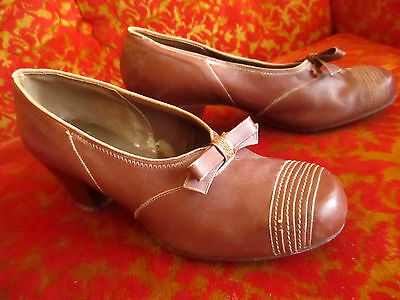 Vtg Women's 1930's-40's LEATHER CUBAN HEEL SHOES Swing Pumps Sz 4.5 B