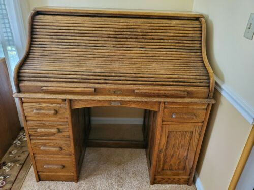 Antique Wood Rowlett Roll Top Desk