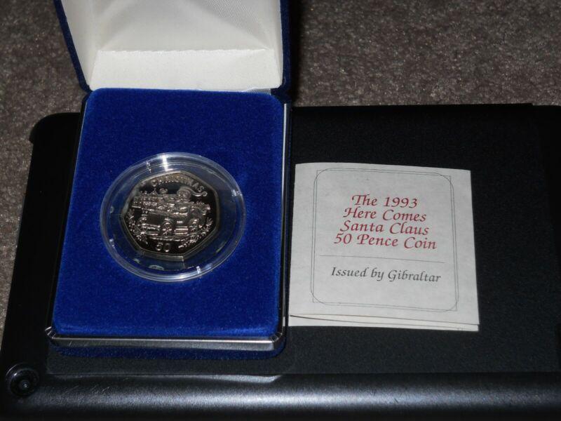 1993 Gibraltar Fifty Pence 50p Santa In Christmas Car Coin Rare?