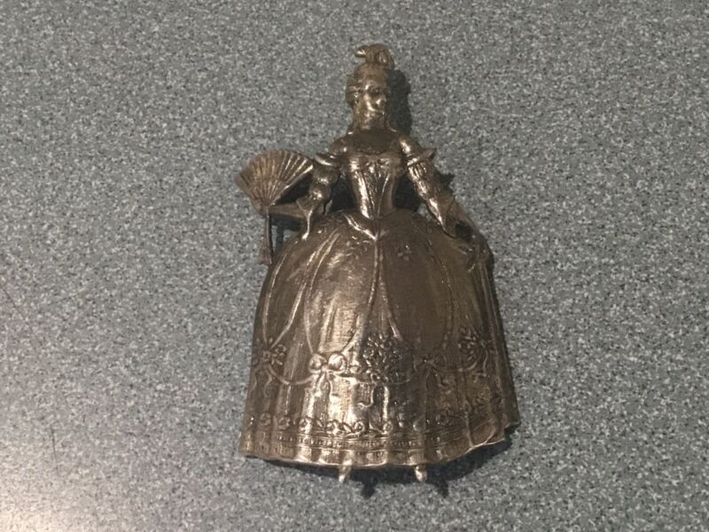 ANTIQUE Victorian Pin Brooch VICTORIAN LADY WITH FAN Polonaise dress