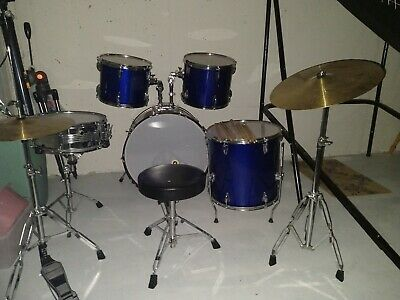 Gammon Percussion Metallic Blue Full Size Drum Set with Cymbals, Sticks & Stool