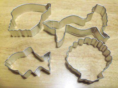 Mermaid Fish Shell Cookie Cutters Set 4 pc. Baking Sugar Ocean Luau - Luau Cookies