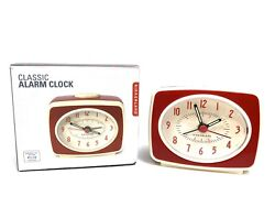 Retro Alarm Clock Red Kikkerland Battery Operated Glow In The Dark Hands