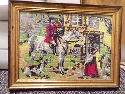 Vintage Horse & Hound Hunt Tapestry - Irish - Framed
