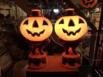 "(2) Vintage Empire 14"" Blow Mold Jack O Lantern Pumpkin Black Cat Witches LIGHTS"