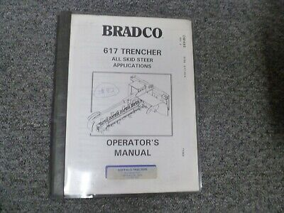 Bradco 617 Trencher Skid Steer Loader Attachment Owner Operator Manual