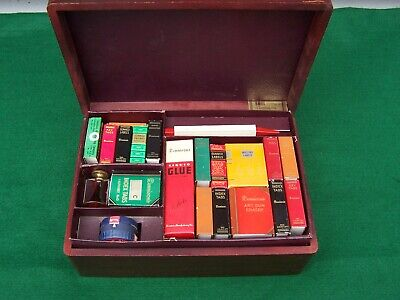 """VINTAGE DENNISON'S """"HANDIBOX"""" #25 NICE WOODEN BOX WITH MAILING/SHIPPING ITEMS"""