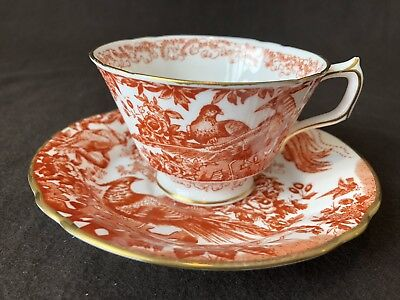Royal Crown Derby Red Aves Cup and Saucer Gold Rim Sold Individually Aves-cup