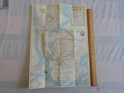 Orig 1946 New York City NYC Subway EL Transit Train Map
