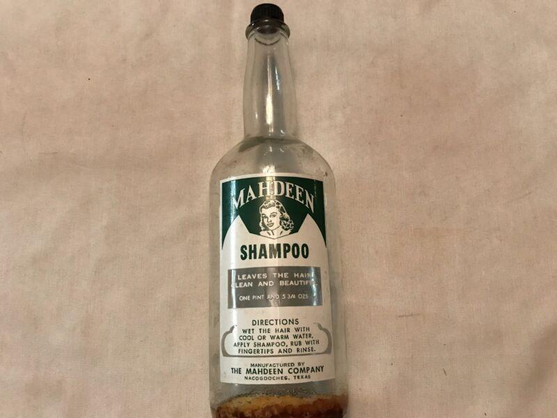 MAHDEEN Vintage Shampoo Barbers Bottle, 1950's, Mahdeen Co, Nacogdoches, Texas