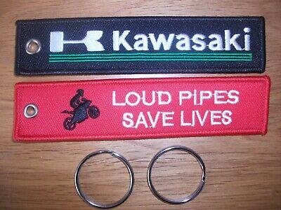 UK SELLER Embroidered Motorcycle Key Chain Tag  FREE P+P. KAWASAKI