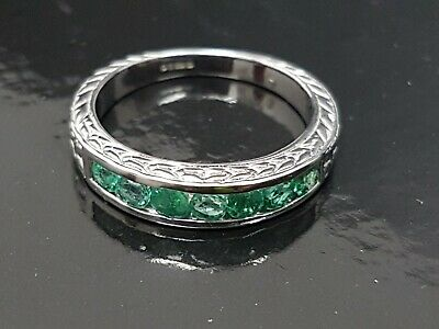 BEAUTIFUL SECONDHAND 9ct YELLOW GOLD EMERALD BAND RING SIZE P