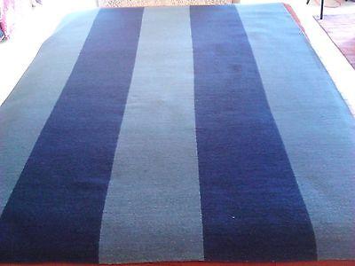 Oriental area rug flat weave Soumak light/dark blue soft Tibetan Knotted Dhurrie